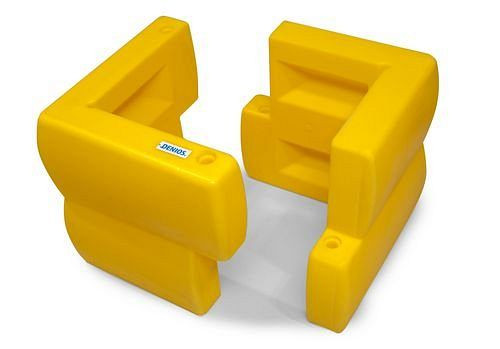 DENIOS pilaarbeschermingsprofielen van PE, geel, set = 2 stuks