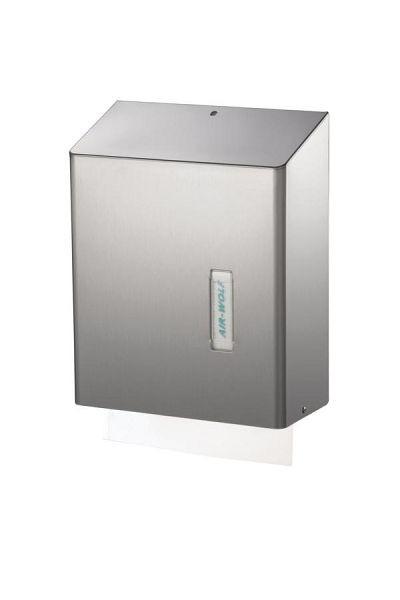 Air Wolf papieren handdoekdispenser voor ca. 500 papieren handdoeken, serie Omega, H x B x D: 350 x 278 x 133 mm, roestvrij staal gecoat, 29-021