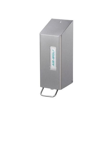 Air Wolf zeep- en ontsmettingsmiddeldispenser, Omega-serie, H x B x D: 288 x 97 x 142 mm, 600 ml, roestvrij staal gecoat, 29-001