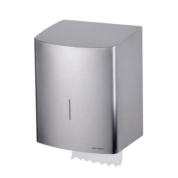 Air Wolf zelftappende handdoekdispenser, Alpha-serie, H x B x D: 383 x 306 x 236 mm, geborsteld roestvrij staal, 60-152